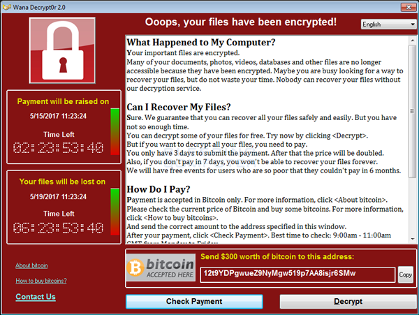 Screenshot of WannaCry's Ransom Message